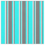 [ Thumbnail: Aqua, Dim Gray & Lavender Stripes Pattern Fabric ]