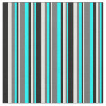 [ Thumbnail: Aqua, Dim Gray, White, and Black Colored Stripes Fabric ]