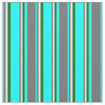 [ Thumbnail: Aqua, Dim Grey, Beige & Dark Green Stripes Fabric ]