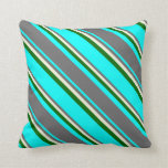 [ Thumbnail: Aqua, Dim Grey, Beige & Dark Green Stripes Pillow ]