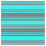 [ Thumbnail: Aqua & Dim Grey Lined/Striped Pattern Fabric ]