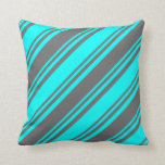 [ Thumbnail: Aqua & Dim Grey Lined/Striped Pattern Throw Pillow ]
