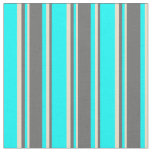 [ Thumbnail: Aqua, Dim Grey & Tan Colored Lines Fabric ]