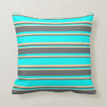 [ Thumbnail: Aqua, Dim Grey & Tan Colored Lines Throw Pillow ]