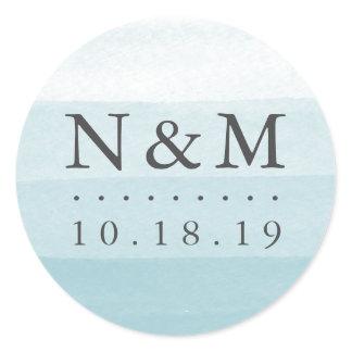 Aqua Dip Dye Watercolor Wedding Monogram Classic Round Sticker