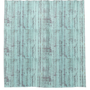 Aqua Distressed Rustic Barn Wood Shower Curtain
