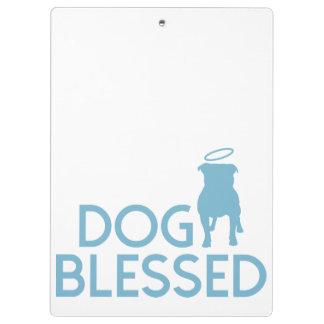 """Aqua """"Dog Blessed"""" Pit Bull Angel Clipboard"""