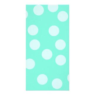Aqua Dotty Pattern. Photo Greeting Card