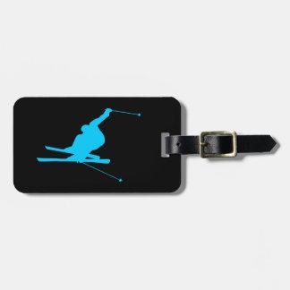 Aqua Downhill Skier Bag Tag