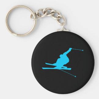 Aqua Downhill Skier Basic Round Button Keychain