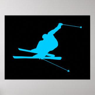Aqua Downhill Skier Print