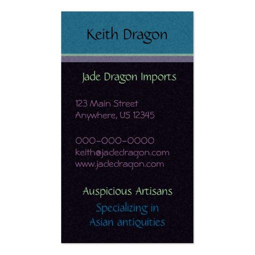 Aqua Dragon Medallion Business Card