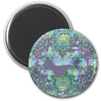 Aqua Dragon Medallion 2 Inch Round Magnet