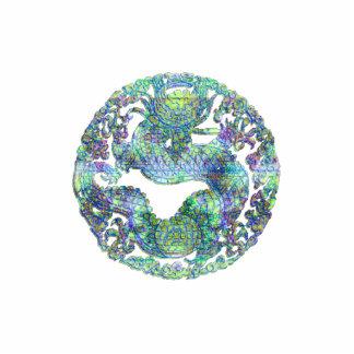 Aqua Dragon Medallion Statuette