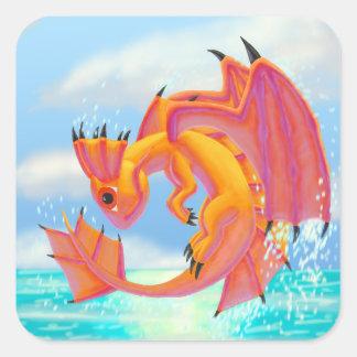 Aqua Dragon Square Sticker