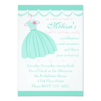 Aqua dress and festooning personalized invitations