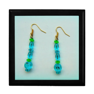 Aqua Earrings Jewelry Box
