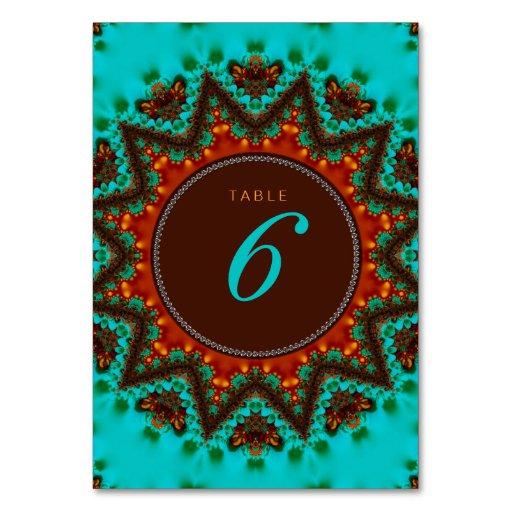 Aqua Earth Sun Wedding Menu Table Number Card