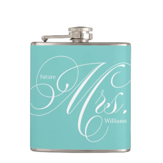 Aqua Elegant Script Future Mrs Hip Flask
