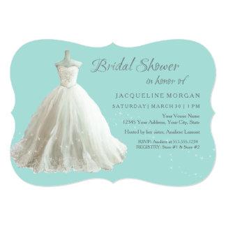 Aqua Elegant Wedding Gown Bridal Shower Invitation