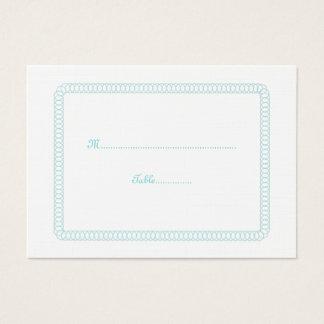 Aqua Encircled Rounded Wedding Place Card