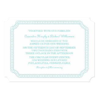 Aqua Encircled Ticket Wedding Invite