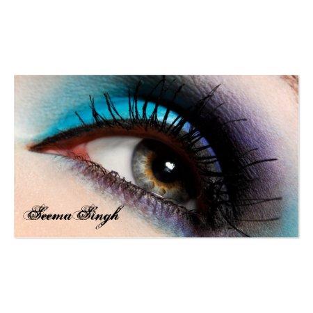Aqua Blue and Purple Eye Makeup Artist Business Cards