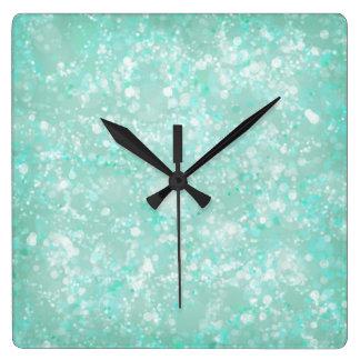 Aqua Fairy Dust Square Wall Clock