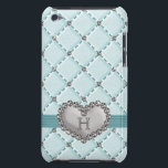 "Aqua Faux Quilted Diamond Heart iPod Touch 4g Case<br><div class=""desc"">A pretty and sophisticated light greenish blue hued faux quilted rhinestone heart iPod Touch 4th generation Case-Mate Barely There cover that can be personalized with your initial or monogram. This lovely monogrammed iPod Touch 4g 4th gen case with a criss cross and diamond bling pattern is elegant and stylish with...</div>"