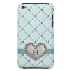 Aqua Faux Quilted Diamond Heart iPod Touch 4g Case at Zazzle