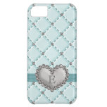 Aqua Faux Quilted Rhinestone Heart Case For iPhone 5C