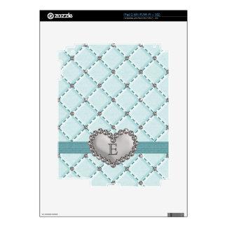Aqua Faux Quilted Rhinestone Heart iPad 2 Skin