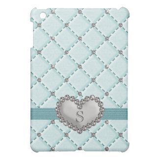 Aqua Faux Quilted Rhinestone Heart  iPad Mini Cover