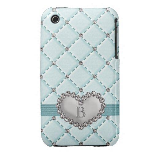Aqua Faux Quilted Rhinestone Heart iPhone 3g 3gs C iPhone 3 Case-Mate Case