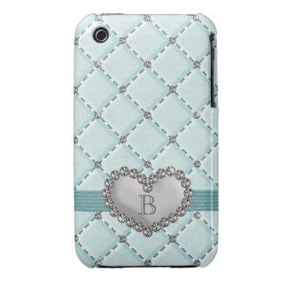 Aqua Faux Quilted Rhinestone Heart iPhone 3g 3gs C Case-Mate iPhone 3 Cases
