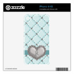 Aqua Faux Quilted Rhinestone Heart iPhone 4 / 4s S Skins For iPhone 4