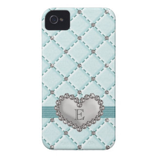 Aqua Faux Quilted Rhinestone Heart iPhone 4 Case-M