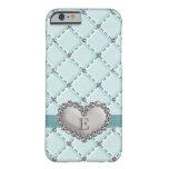 Aqua Faux Quilted Rhinestone Heart iPhone 6 Case