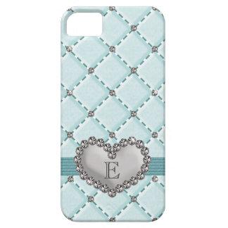Aqua Faux Quilted Rhinestone Heart iPhone SE/5/5s Case