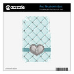 Aqua Faux Quilted Rhinestone Heart iPod Touch 4g 4 iPod Touch 4G Decal