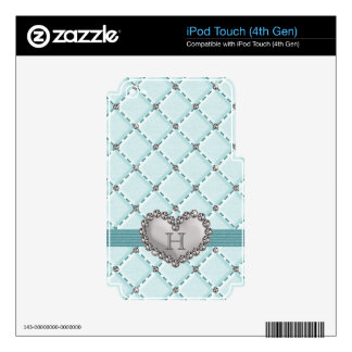 Aqua Faux Quilted Rhinestone Heart iPod Touch 4g 4 Skins For iPod Touch 4G