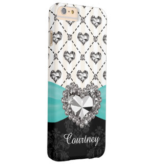 Aqua Faux Rhinestone Heart iPhone 6 Tough Barely There iPhone 6 Plus Case