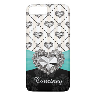 Aqua Faux Rhinestone Heart iPhone 7 Tough iPhone 8 Plus/7 Plus Case