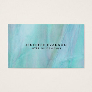 Aqua Faux Stained Glass Watercolor Look Business Card