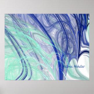 aqua feathers abstract art  Halima Ahkdar Poster