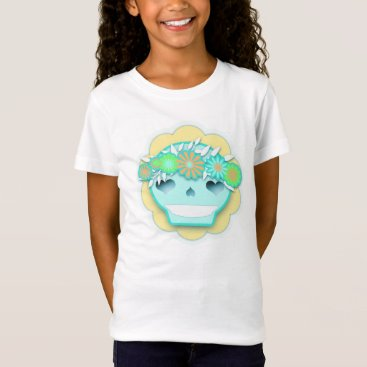 Halloween Themed Aqua Festival Skull with Flower Headband - T-Shirt
