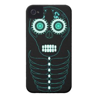 Aqua Fiesta Skull Black iPhone 4 Case