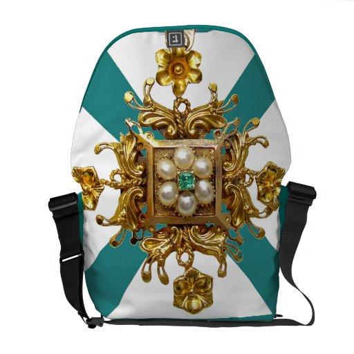 Aqua Filigree Vintage Costume Jewelry Designer Bag