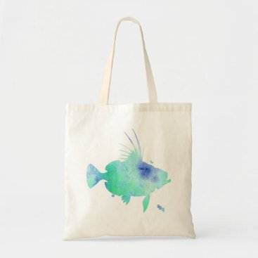 Beach Themed aqua fish watercolour print tote bag