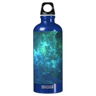 Aqua Flame Fractal Aluminum Water Bottle